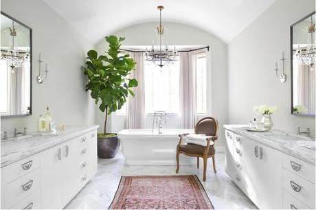 Betsy Burnham bathroom carrera marble persian rug fiddle leaf
