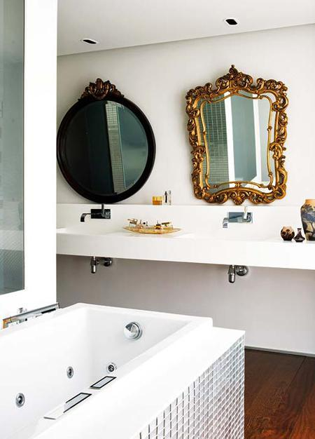 Marta Torelló bathroom ornate black gold mirrors