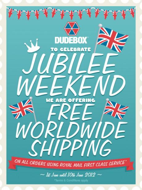 JUBILEE promo flyer 460x613 Dudebox   10 days of free worldwide shipping to celebrate the Jubilee