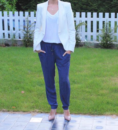 The white blazer and the pyjama trousers
