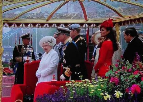 The Royal Family on the river, celebrating the Jubilee