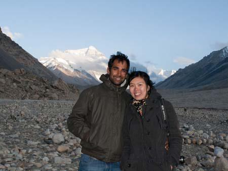 Travis and Sonya with the tip of Everest visible in the background