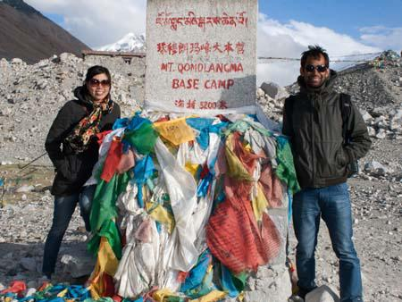 Sonya and Travis at the Everest Base Camp market, 5200 metres