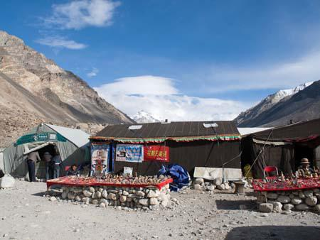 Black Tent Camp the tourists Everest Base Camp, a China Post is visible to the left