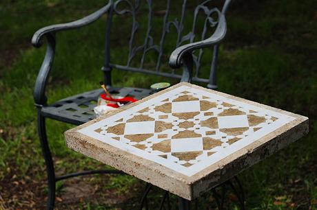 Stenciling Patio Pavers with Driftwood Weathering Wood Finish