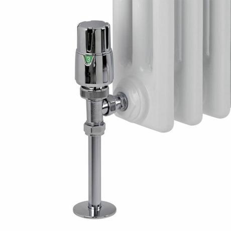angled radiator valves on a column radiator