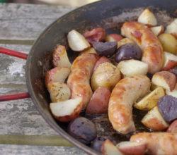 Irish Bangers and potatoes for St. Patricks Day
