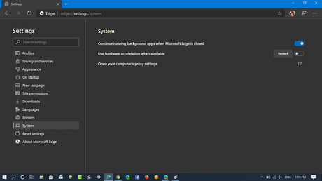 Use hardware acceleration when available option in microsoft edge