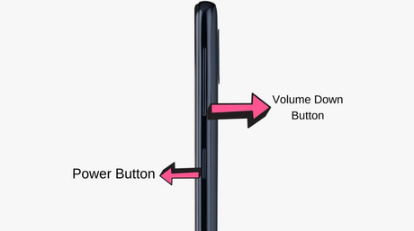 turn off samsung galaxy a51 using power and volume combination