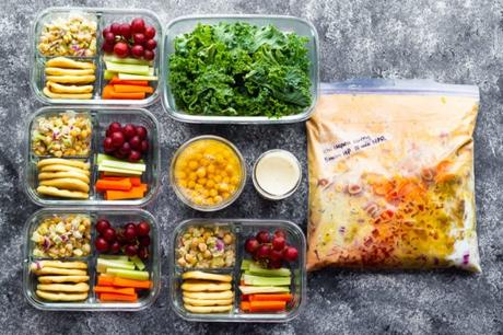 meal prep containers filled with food