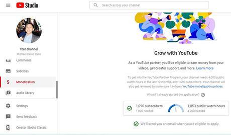 YouTube monetization metrics