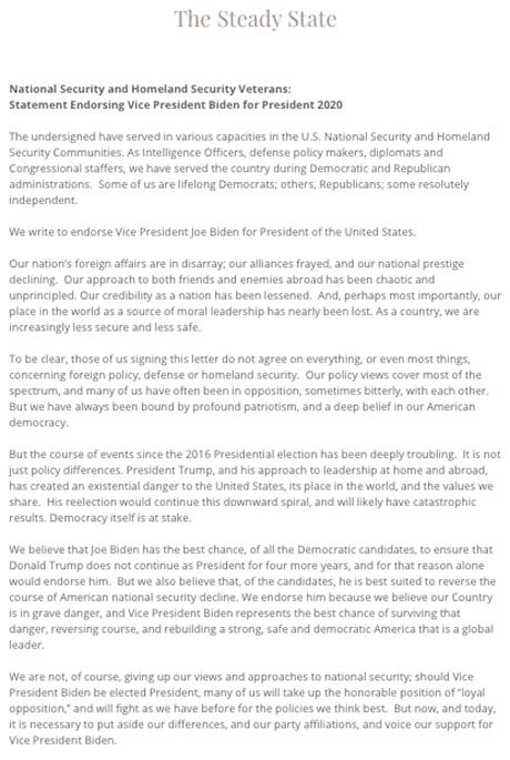 Over 80 Former National Security Officials Endorse Biden