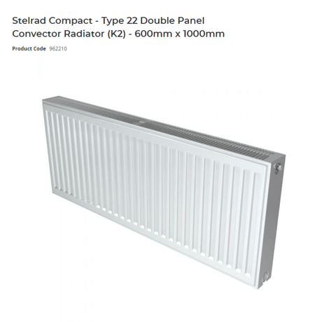 Stelrad Compact - Type 22 Double Panel Convector Radiator (K2) - 600mm x 1000mm