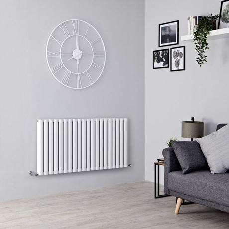 Milano Aruba Ayre - Aluminium White Horizontal Designer Radiator 600mm x 1190mm (Double Panel)