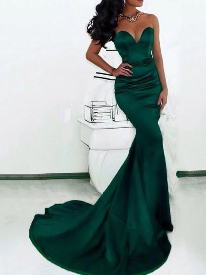 Mermaid Sweetheart Satin Girls Prom Dresses