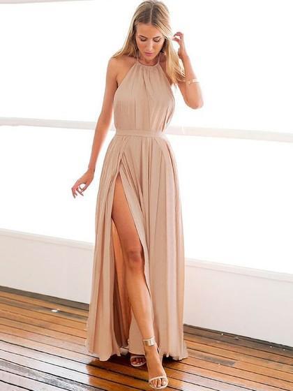 A-line Halter Girls Prom Dresses with Slit