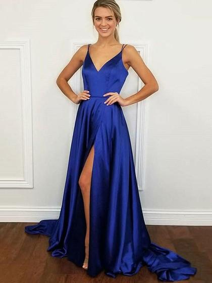 A-line Girls Prom Dresses with Slit