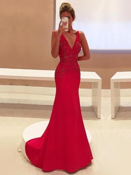 Red Mermaid Girls Prom Dresses Long Sleeve