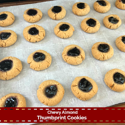 Chewy Almond Thumbprint Cookies ~ The Dreams Weaver