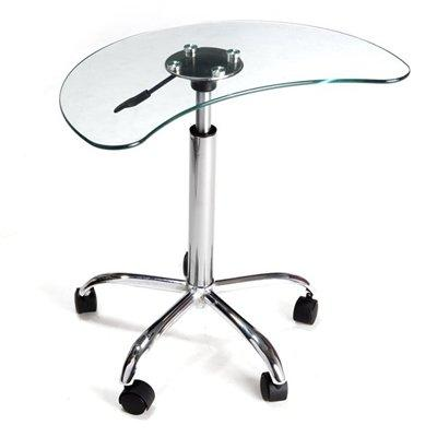 LT-020 Clear Glass and Aluminum Laptop Stand with Casters
