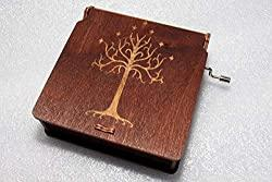 Image: White Tree Of Gondor - Lord Of The Rings Music Box - The Hobbit LOTR Gandalf - Engraved Wooden Box - Hand Crank Movement