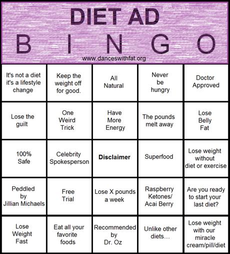 Let's Play Diet Ad Bingo!