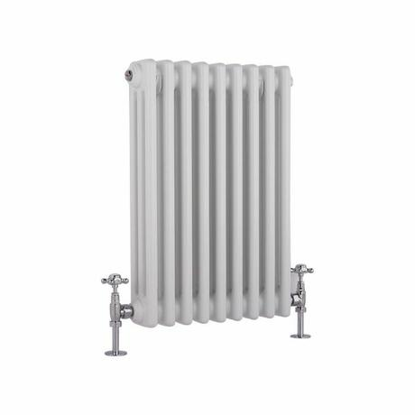 Milano Windsor - Horizontal Triple Column White Traditional Cast Iron Style Radiator - 600mm x 425mm