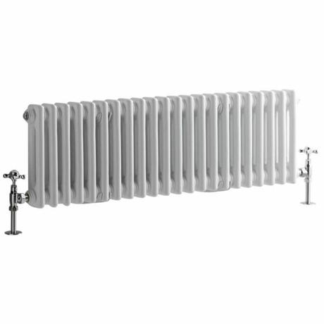 Milano Windsor - Horizontal Double Column White Traditional Cast Iron Style Radiator - 300mm x 1010mm