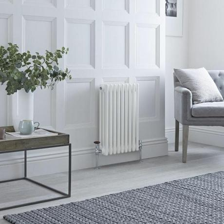 narrow milano windsor column radiator in a small room