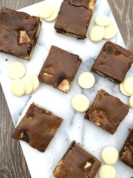 gooey caramel blondies studded with chunks of white chocolate