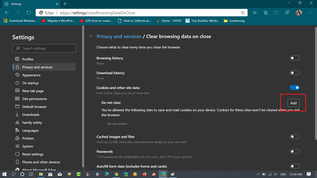 How to Keep Cookies for Specific Sites When Close Microsoft Edge