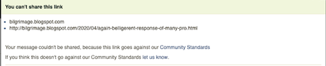Facebook Is Also Censoring Links to Bilgrimage Even When I Try Sharing Them Via Private Messages