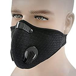 Image: HotMall-US Protective face and Mouth, Unisex,Washable, Reusable Protective Breathable Anti Dust Fog Windproof Outdoor Sports Cycling Facial Mouth Protection Black