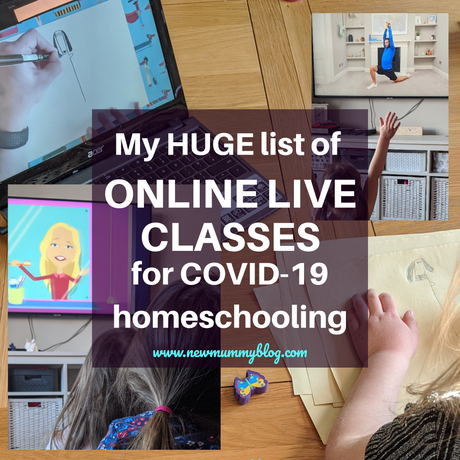 My HUGE list of days & times of online LIVE CLASSES for kids -in COVID-19 lockdown