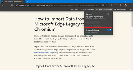 How to Enable Picture Dictionary for Immersive Reader in Microsoft Edge
