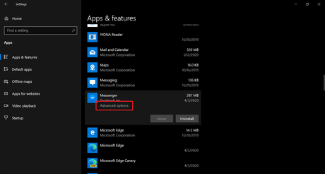 Advanced options option in Apps and features