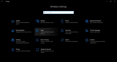 apps option in windows 10 settings app