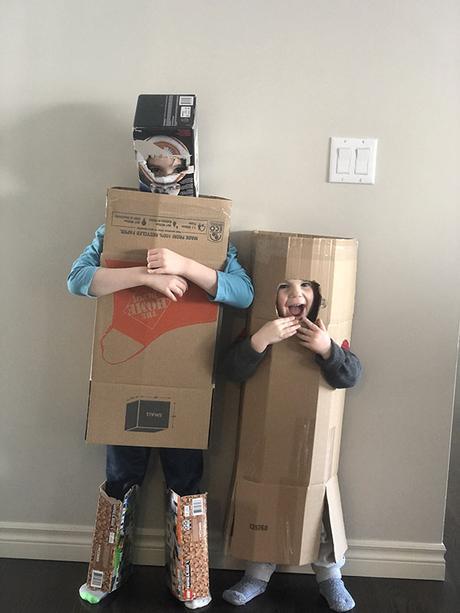kids in cardboard suits