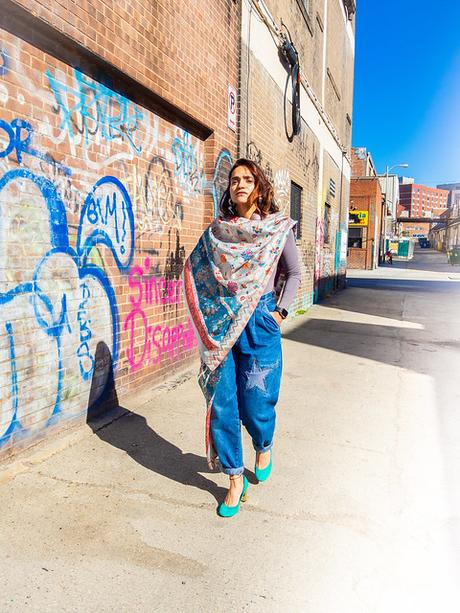 Vintage Denims Styled with Dupatta