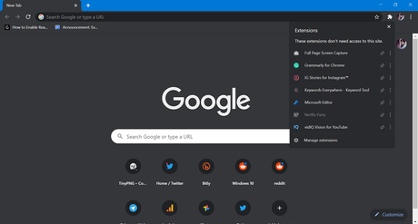 How to Enable or Disable New Extension Toolbar in Google Chrome