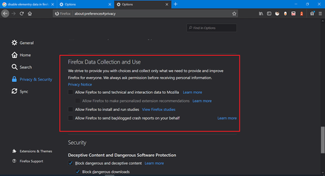 Disable - Firefox Data Collection and Use