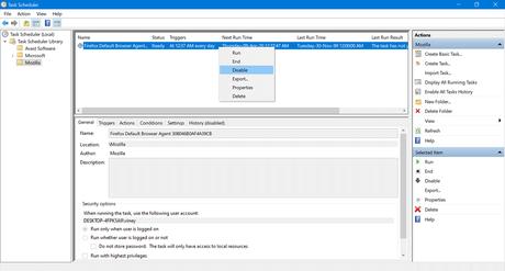 Delete Firefox Default Browser Agent task in task scheduler