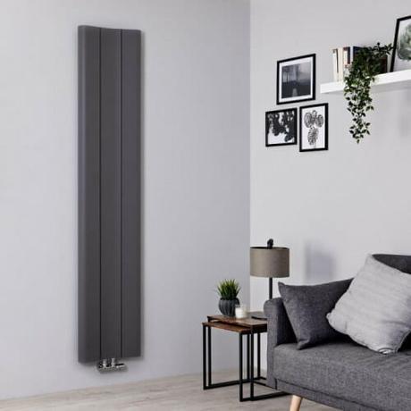 The Milano Solis aluminum vertical designer radiator in grey
