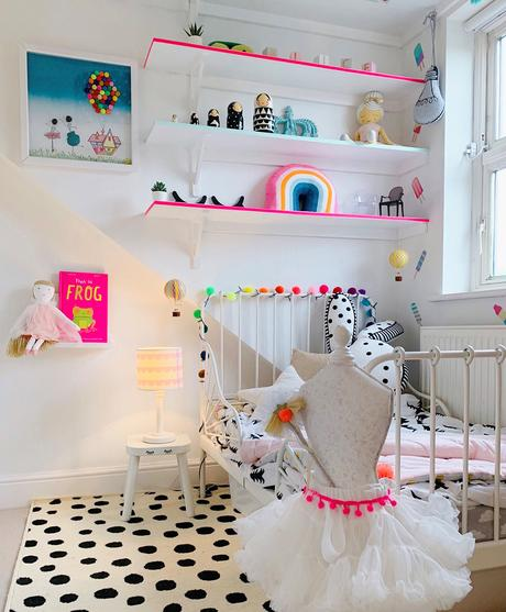 Little girls bedroom decor. Black and white decor with neon pink accents
