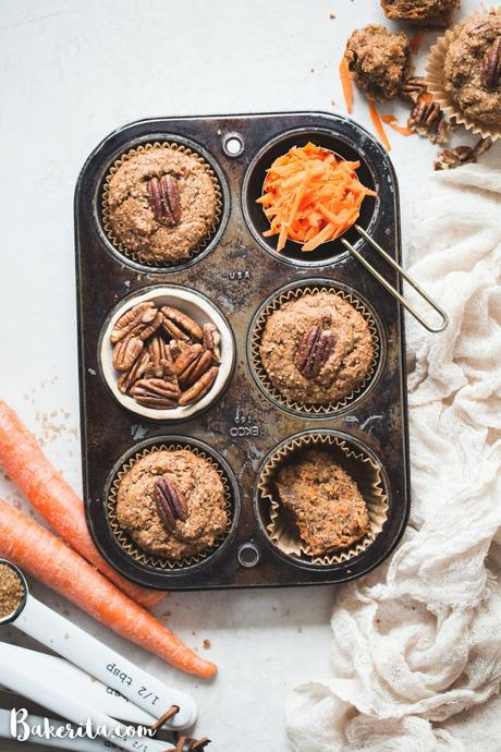 These Gluten-Free Vegan Carrot Cake Muffins are so tender and flavorful! They're the perfect healthy breakfast or snack to enjoy all year long. You'll love these simple carrot muffins!