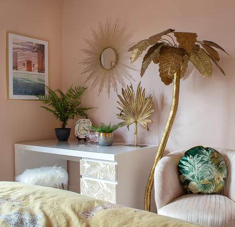 Stunning gold sunburst mirror styled in an Art Deco style bedroom. Blush pink and gold decor inspiration
