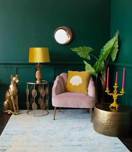 Dark green and mustard yellow living room inspiration