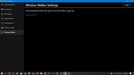 Windows 10 Powertoys WIndow Walker settings