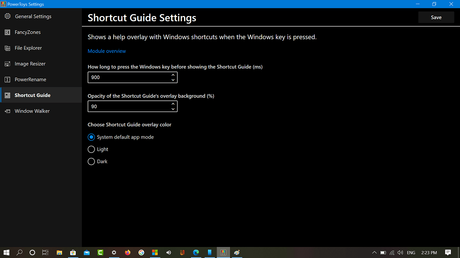 Windows 10 Powertoys Shortcut Guide settings