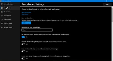 Windows 10 Powertoys FancyZones settings